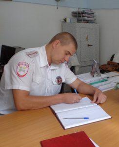 Инспектор ДПС роты №4 ст. лейтенант Приходько Серг. Влад.